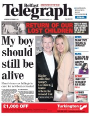Belfast Telegraph (UK) Newspaper Front Page for 3 September 2014