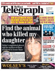 Belfast Telegraph (UK) Newspaper Front Page for 4 August 2015