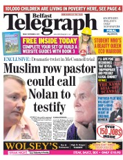 Belfast Telegraph (UK) Newspaper Front Page for 4 September 2015