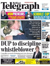Belfast Telegraph (UK) Newspaper Front Page for 6 March 2015