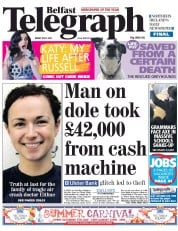 Belfast Telegraph Newspaper Front Page (UK) for 6 July 2012