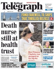 Belfast Telegraph (UK) Newspaper Front Page for 6 July 2015