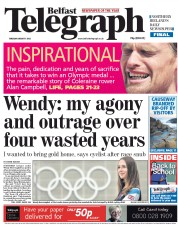 Belfast Telegraph Newspaper Front Page (UK) for 7 August 2012