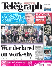 Belfast Telegraph Newspaper Front Page (UK) for 8 October 2012