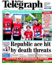 Belfast Telegraph Newspaper Front Page (UK) for 8 May 2012