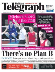 Belfast Telegraph Newspaper Front Page (UK) for 8 August 2012