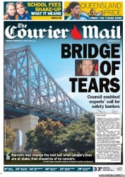 Courier Mail Newspaper Front Page (Australia) for 21 February 2012