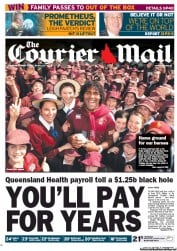 Courier Mail Newspaper Front Page (Australia) for 7 June 2012