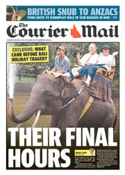 Courier Mail (Australia) Newspaper Front Page for 9 January 2014
