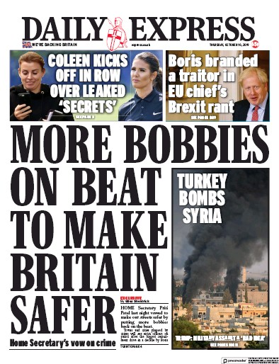 Daily Express Newspaper Front Page (UK) for 10 October 2019