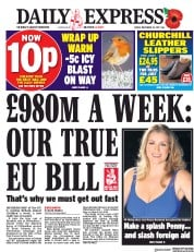Daily Express (UK) Newspaper Front Page for 10 November 2017
