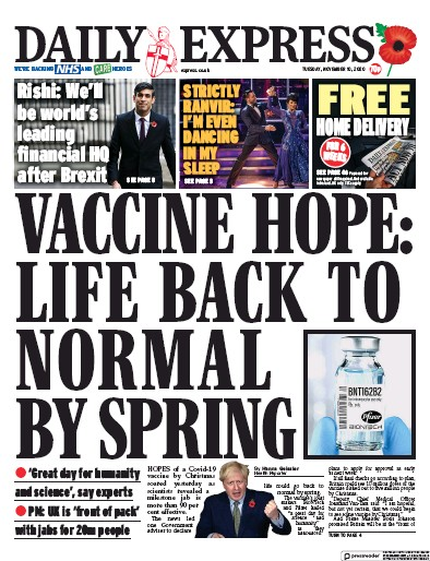 Daily Express Newspaper Front Page (UK) for 10 November 2020