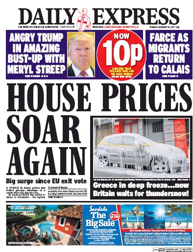 Daily Express (UK) Front Page for 10 January 2017 ... Daily Express