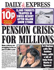 Daily Express (UK) Newspaper Front Page for 10 January 2018