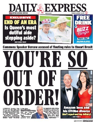Daily Express Newspaper Front Page (UK) for 10 January 2019