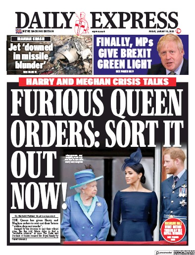 Daily Express Newspaper Front Page (UK) for 10 January 2020