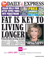 Daily Express Newspaper Front Page (UK) for 10 February 2015