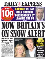 Daily Express (UK) Newspaper Front Page for 10 February 2016