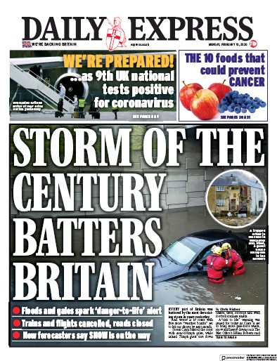 Daily Express Newspaper Front Page (UK) for 10 February 2020