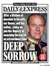 Daily Express front page for 10 April 2021