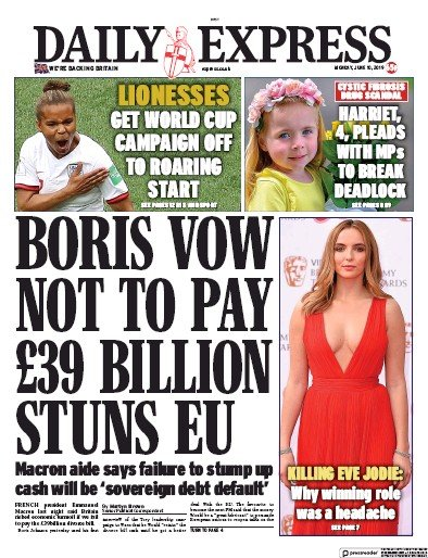 Daily Express Newspaper Front Page (UK) for 10 June 2019