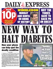 Daily Express (UK) Newspaper Front Page for 10 July 2017