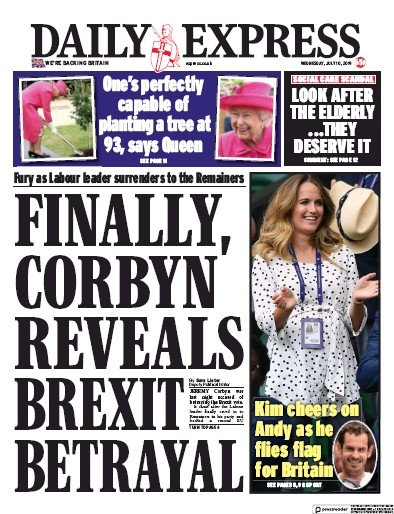 Daily Express Newspaper Front Page (UK) for 10 July 2019