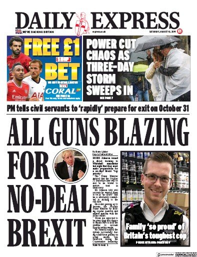 Daily Express Newspaper Front Page (UK) for 10 August 2019
