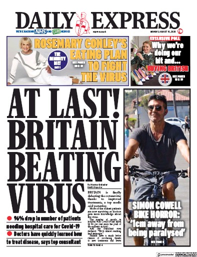Daily Express Newspaper Front Page (UK) for 10 August 2020