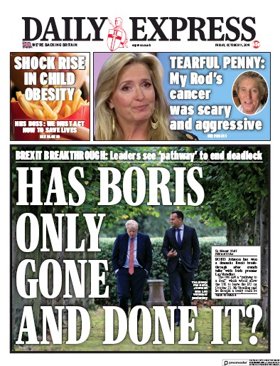 Daily Express Newspaper Front Page (UK) for 11 October 2019
