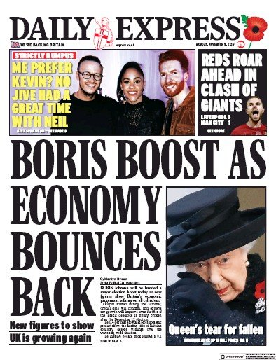 Daily Express Newspaper Front Page (UK) for 11 November 2019