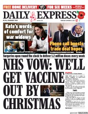 Daily Express front page for 11 November 2020