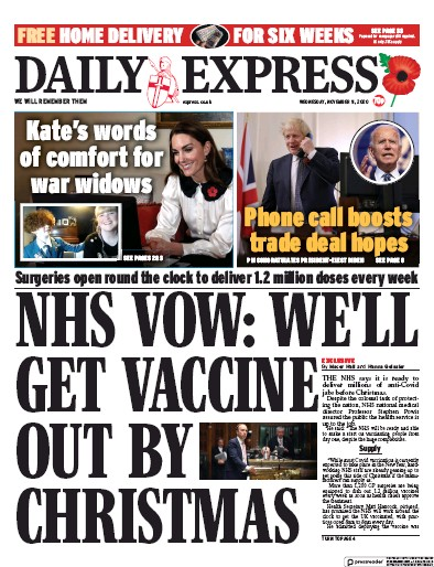 Daily Express Newspaper Front Page (UK) for 11 November 2020
