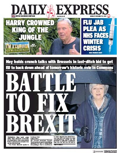 Daily Express Newspaper Front Page (UK) for 11 December 2018