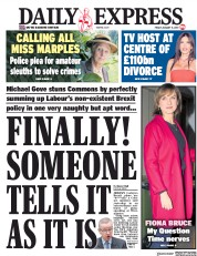 Daily Express (UK) Newspaper Front Page for 11 January 2019