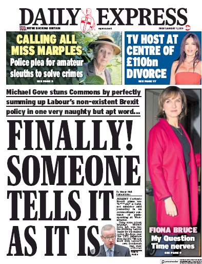 Daily Express Newspaper Front Page (UK) for 11 January 2019