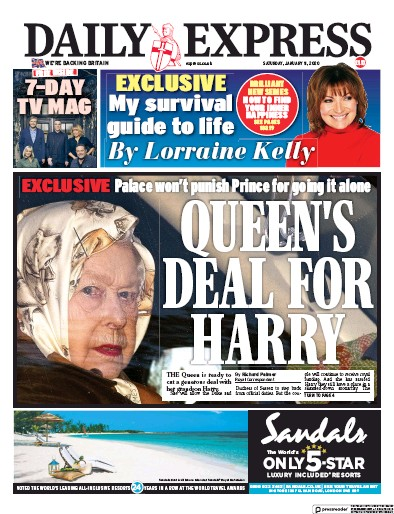 Daily Express Newspaper Front Page (UK) for 11 January 2020