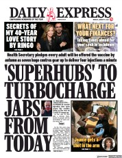 Daily Express (UK) Newspaper Front Page for 11 January 2021