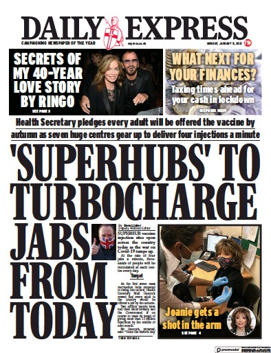Daily Express Newspaper Front Page (UK) for 11 January 2021