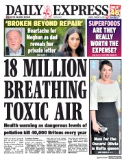 Daily Express (UK) Newspaper Front Page for 11 February 2019
