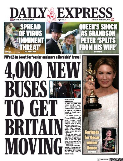 Daily Express Newspaper Front Page (UK) for 11 February 2020