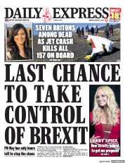 Daily Express (UK) Newspaper Front Page for 11 March 2019