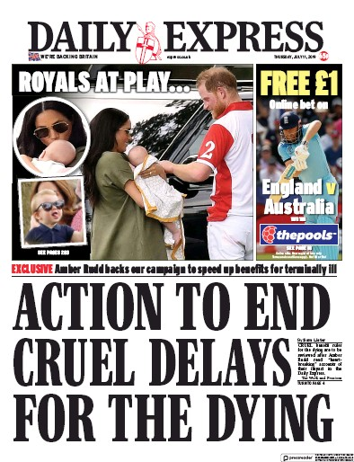 Daily Express Newspaper Front Page (UK) for 11 July 2019