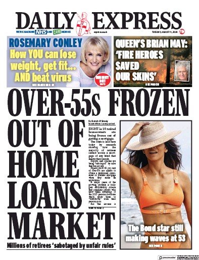 Daily Express Newspaper Front Page (UK) for 11 August 2020