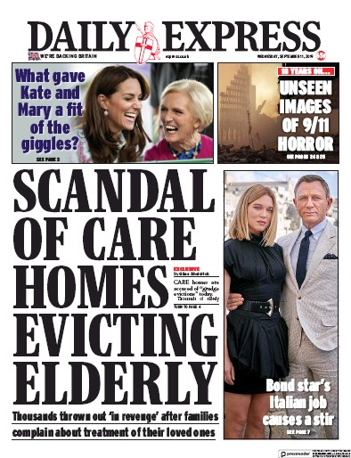 Daily Express Newspaper Front Page (UK) for 11 September 2019