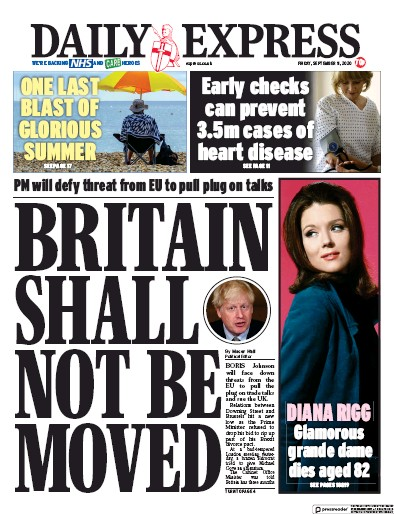 Daily Express Newspaper Front Page (UK) for 11 September 2020