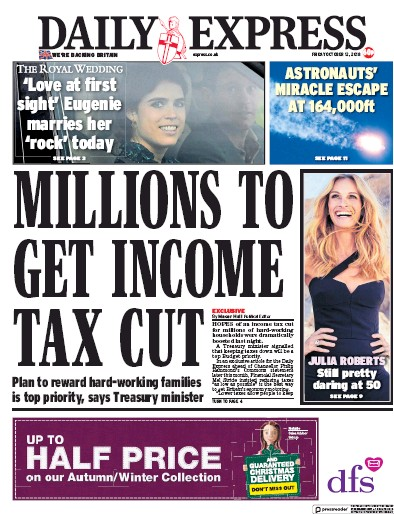 Daily Express Newspaper Front Page (UK) for 12 October 2018