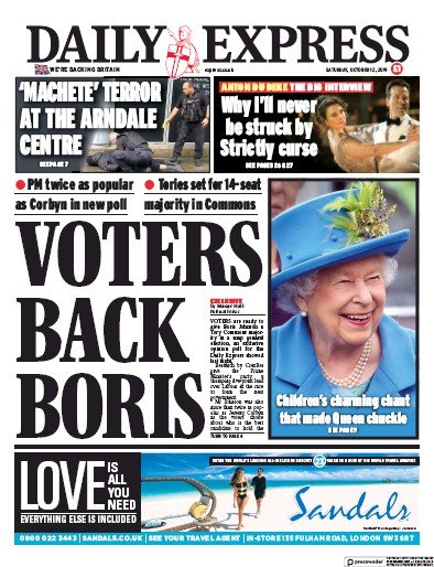 Daily Express Newspaper Front Page (UK) for 12 October 2019