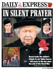 Daily Express (UK) Newspaper Front Page for 12 November 2018