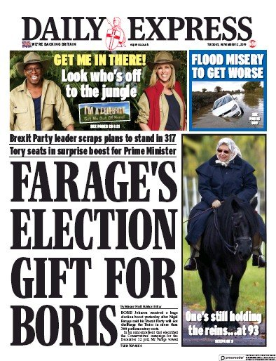 Daily Express Newspaper Front Page (UK) for 12 November 2019